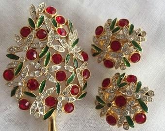 Christmas Tree Brooch Pin/Matching Earrings/Sphinx A1266 Swarovski Rhinestone/Rhinestone and Enameled Pin/By Gatormom13