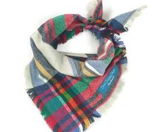 Plaid Dog Bandana with Fringe, Red and Tan Plaid