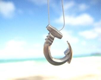 Hawaiian Fish Hook Necklace, Silver Fishhook Necklace, Fishing Necklace, Fishing Gift