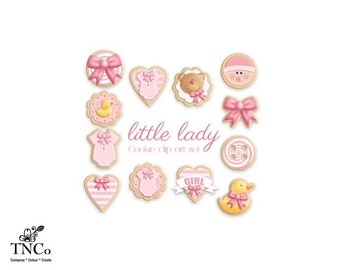 Baby girl clip art - Gender reveal clipart - Baby girl cookie clipart - Birth announcement illustration - Invitation clipart - CU OK-