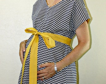 LINED Landon Maternity Hospital Gown - Navy Blue and White Chevron  - Choose Your Lining Color- by Mommy Moxie on Etsy