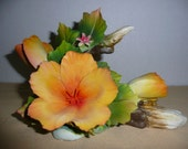 Capodimonte Porcelain Hibiscus, Made in Italy - Porcelain Flower Sculpture