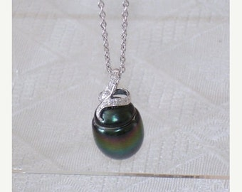READY FOR SPRING Sale: Ashira Drop Dead Gorgeous 14K White Gold & Diamond Natural Peacock Black Green Tahitian 15mm Pearl Pendant