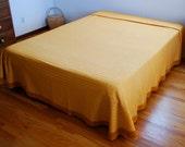 "VTG Chenille Bedspread, Dark Gold Buttonhole Morgan Jones, Twin Full 89"" x 110"""