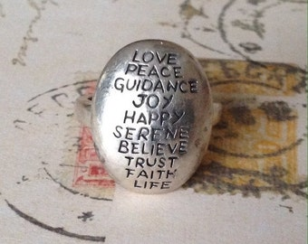 50% Love, Peace, Joy 925 Sterling Silver Inspirational Oval Message Ring 8