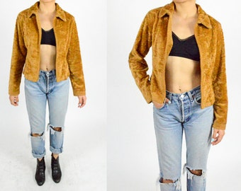90's TAN FAUX FUR Fluffy Cropped Coat. Long Sleeves. Mod Grunge Goth Rave . 1990's Grunge