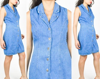 90's BLUE DENIM Mini DRESS Plunging Neck Metal Hardware Open Cut Out  Lace Up Back size - S