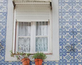 Lisbon Photo,Blue Tile Print, Crochet Curtains, Travel Photo, White Window, Charming, Lisbon Print, Romantic Travel Print, Romantic