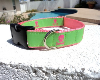"""Sale Dog Collar Pirate Pink and Lime 1"""" wide side release buckle /reversable ribbon, choose side /martingale style is cost upgrade"""