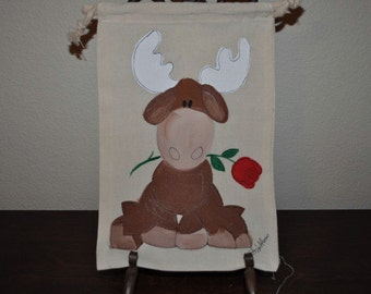 Birthday Moose Love Large Hand Painted Gift Wrap Muslin Gift Bags