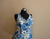 Swim Dress 1960s vintage pinup blue white floral ruffle bathing suit 44 2X