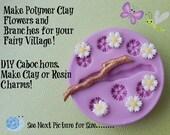Fairy Flower Branch Silicone Mold Daisy DIY Cabochon Fondant Gumpaste Resin Moulds