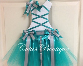 Teal Gray Tutu Dress Hair Bow Holder With Loops for Headbands Perfect Gift For Birthday Baby Shower It's a Girl