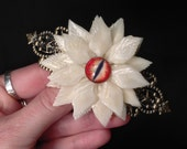 PREORDER - Osteo Flora Series: Large Bone Flower French Style Hair Barrette with Glass Dragon Eye - Your Choice of Color