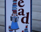 READ Bookmark, Page Marker, Stamping Bella Bookmark, Uptown Girl Betty Loves Reading, Stacks of Books Bookmark