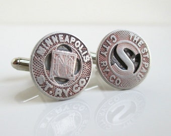 Twin Cities - Minneapolis & St. Paul Transit Token Cuff Links - Silver, Vintage Coin