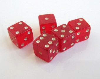 5 Incorrectly Drilled Red Bakelite Dice - Vintage, Small