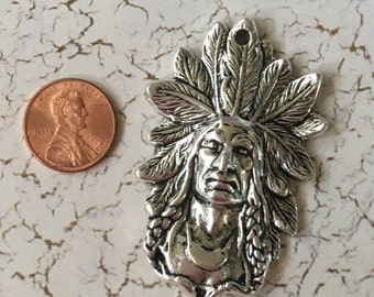 Indian Head Pendant with Full Headdress Silver Pewter