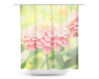 Pastel Shower Curtain - Pink Yellow - Floral Photography - Spring Home Decor - Shabby Chic Photo - Preppy Bathroom Decor - Flower Photograph