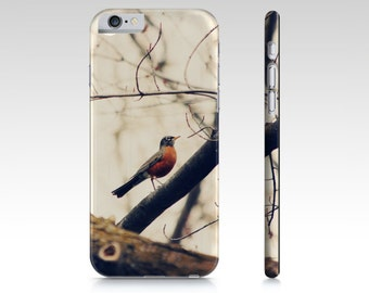 Robin Red Breast - Bird iPhone 6 Case - Nature Phone Cover - Earth Tone Photo - iPad Mini Case - Samsung Galaxy S4 S5 - iPhone 5 5S 6S