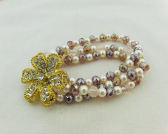 3 Strand Cream Pearl and Lilac Crystal Bracelet with Gold Plated Rhinestone Flower, Accessories, Gift, Birthday, Anniversary, Christmas