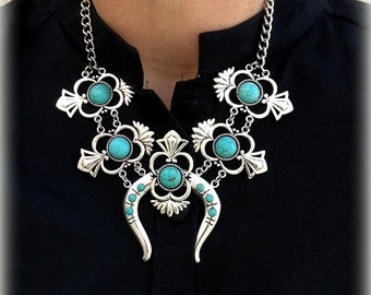 Floral Native American inspired reproduction statement necklace Alloy&Howlite Turquoise Bohemian southwestern style by Inali #SB04