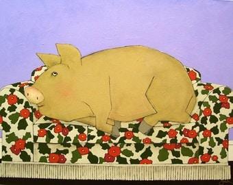 Pig art print/pig wall art/ pig on sofa/family room art/hog art/print with pig/art pig/whimsical art/animals art print/16 x 20