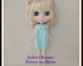 Instant Download PDF Pattern for Knitted Romper for Blythe