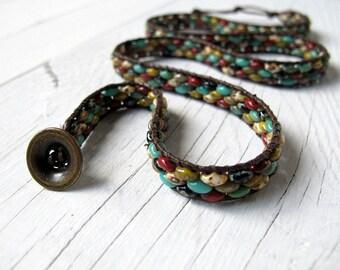 Triple Wrap Bracelet, Picasso Bead Wrap, Bohemian Bijoux, Festival Fashion, Coachella Style, Boho Hippie Chic, Rustic Color Mix, Superduo