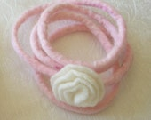 Felted Rose Bracelet in Pink and White