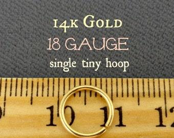 14k Gold Tiny Hoop in 18g