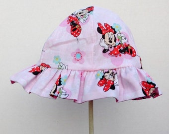 Reversible Sun Hat Bucket Hat Minnie Mouse Disney Character for Little Girls