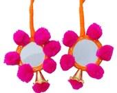 Indian Women Sari Latkans Pink Pom Pom Beaded Mirror Crafting Tassels Dress Embellishment Supplies Accessory Sewing Latkan By 1 Pair FRA286F