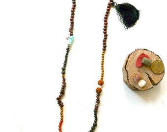 Necklace garnet root chakra  ( red, wood, muladhara, yoga ) 02