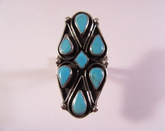 Multistone Turquoise Teardrop Silver Ring