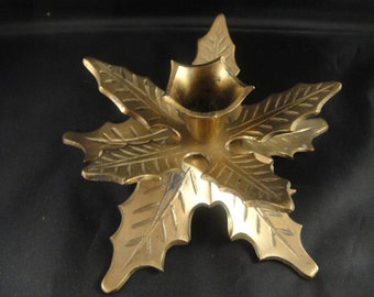 Brass Holly Leaves Candle Holder