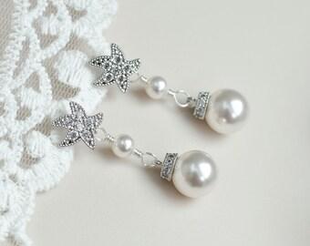 Starfish - Cubic Zirconia Starfish Earrings and Round White Swarovski Pearls, Bridal Earrings, Bridesmaids Earrings, Beach Wedding Earrings