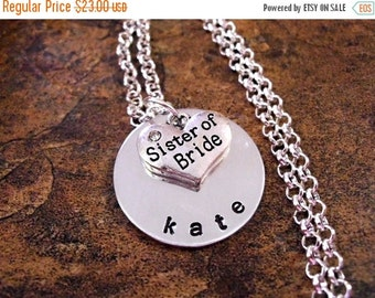 SALE Sister of the Bride Jewelry, Sister of the Bride Necklace, Personalized Jewelry, Hand Stamped Jewelry