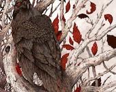 "8x8"" Metallic Print A Raven in Winter"