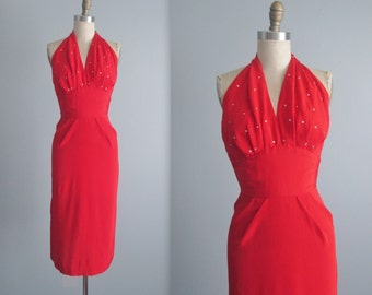 50's Halter Dress //  Vintage 1950's Sexy Red Rhinestone Fitted Cocktail Party Bombshell Dress XS XXS