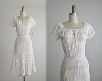 STOREWIDE SALE 70's Gauze Dress // Vintage 1970's Bohemian White Gauzy Cotton Lace Summer Festival Dress NOS Deadstock Tags Xs