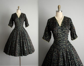 50's Cocktail Dress // Vintage 1950's Classic Black Full Cocktail Party Evening Dress S