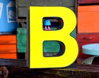Vintage Marquee Sign Letter Capital 'B': Large Yellow Wall Hanging Initial -- Industrial Neon Channel Advertising Salvage