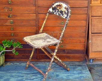 Rustic White Steel Childrens Folding Chair: Metal Seat with Distressed Chippy Paint Patina - Farmhouse Shabby Chic