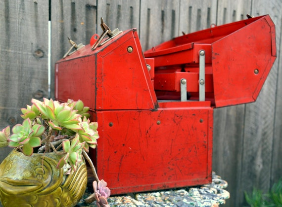 Vintage Steel Husky Industrial Toolbox Large Rustic Red