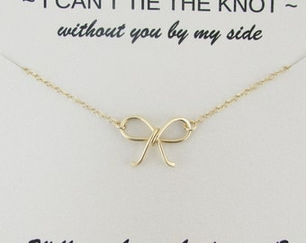 Tie the knot Necklace, 14K Gold Filled, Will You Be My Bridesmaid, Bridesmaid Necklace, Bridesmaid Proposal, Bow Necklace, Wedding Jewelry
