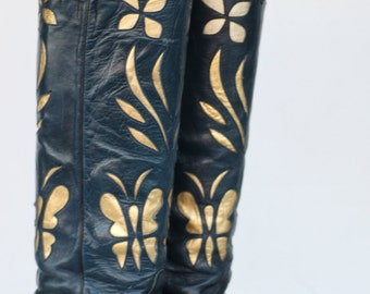 Tall gorgeous vtg blue leather butterfly cutout lady's buckaroo cowboy boots, 7 B
