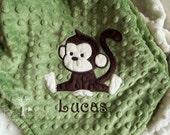 Monkey Minky Baby Blanket, Baby Boy Gift, Baby Boy Blanket, Personalized Minky Baby Blanket, Custom Baby Blankets