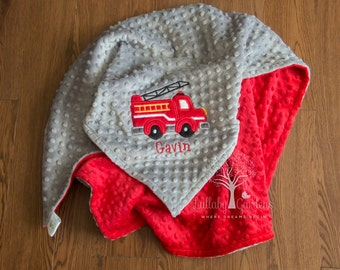 Fire Truck Personalized Minky Baby Blanket, Boy Baby Blanket, Fire Engine Baby Blanket, Personalized Baby Gifts