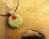 Aten Symbolic Amulet - Egyptian Solar Deity -  Akhenaten's Reign - Handcrafted Amulet with Carnelian Disc - Acrylic and Brass Patina Finish